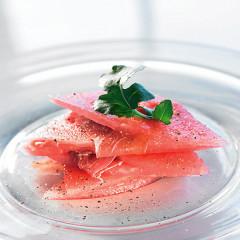 Prosciutto with watermelon