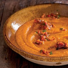 Pumpkin soup with roast pepper and chilli salsa