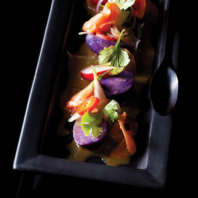 Purple potato and river trout tiridito with mustard dressing