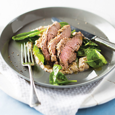 Quick roast lamb with brinjal sauce