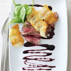 Rare beef with beetroot glaze and sheet potatoes