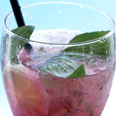 Raspberry and basil mojitos