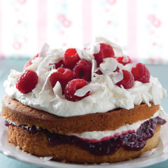 Raspberry and coconut sponge