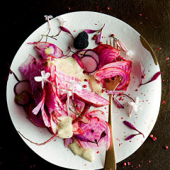 Raw candy-striped beetroot, jasmine and radish shavings with truffle aioli