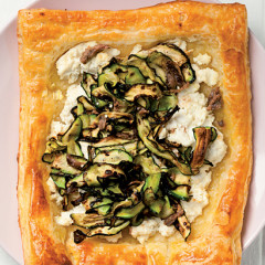 Ricotta, anchovy and baby marrow tart