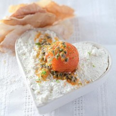 Ricotta and poached apricot hearts