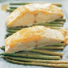 Roast asparagus and hake