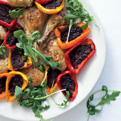 Roast chicken pieces with sweet peppers and tapenade