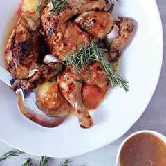 Roast chicken with plums, honey and rosemary