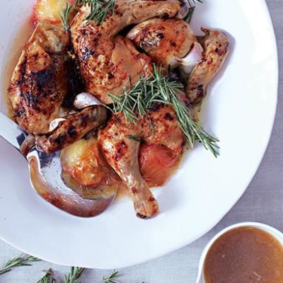 Roast chicken with plums, honey and rosemary | Woolworths TASTE
