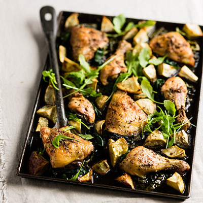 Roast chicken with sweet potatoes and Swiss chard