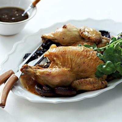 Roast chicken with whole mushroom gravy