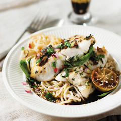 Roast fish with charred limes and sesame egg noodles
