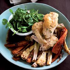 Roast flattened chicken with three veg