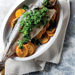 Roast honey-and-orange yellowtail with ginger spring onions
