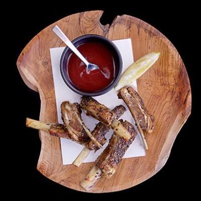Roast lamb ribs with coriander and hoisin sauce