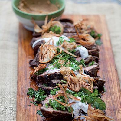 Roast lamb with crisp onion and tahini