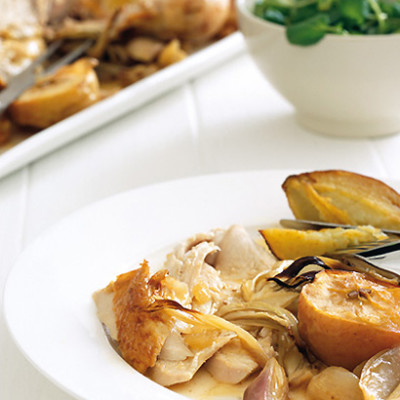 Roast organic chicken with apple, fennel, shallots and crispy sweet potatoes