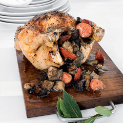 Roast paprika chicken stuffed with chorizo, brinjals and parsley