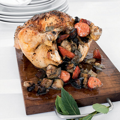 Roast paprika chicken stuffed with chorizo, brinjals and parsley
