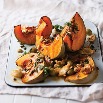 Roast pumpkin with caper, garlic and green olive butter