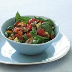 Roast ratatouille, lamb and spinach salad