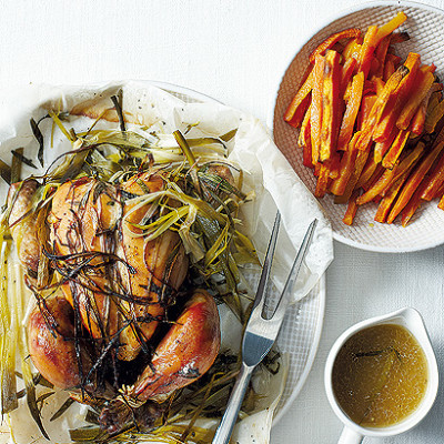 Roast smoked chicken with butternut and sweet potato bake