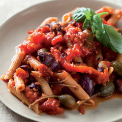 Roast vegetable puttanesca with wholegrain penne