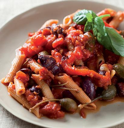 Roast vegetable puttanesca with wholegrain penne ...