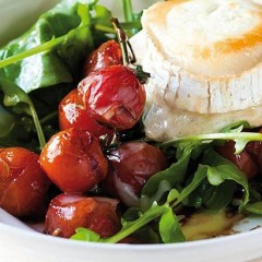 Roast vine tomatoes with oozing goat's-milk cheese