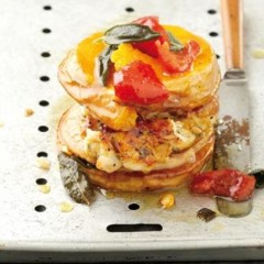 Roasted butternut and chicken burger with peppadews and sage butter