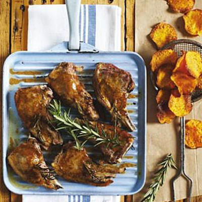 Roasted rosemary spiked lamb cutlets with butternut crisps