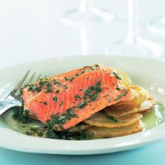 Roasted salmon trout and potatoes with herb dressing
