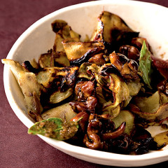 Roasted sweet-potato shavings with chicken and anchovies