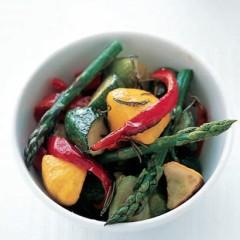 Roasted vegetables in sherry vinegar dressing