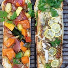 Roasted vegetables on toasted ciabatta