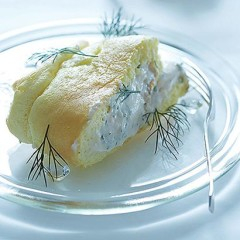 Rolled souffle with taramasalata