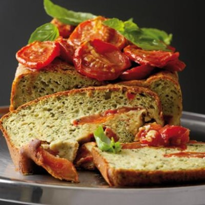 Roma tomato and basil pesto cake