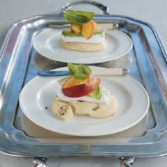 Rose-water-and-pistachio biscuits with buffalo mozzarella, nectarines and basil