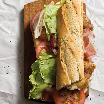 Rotisserie chicken and wafer-thin sliced coppa baguette