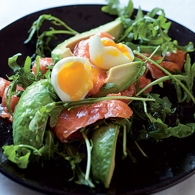 Salmon and avocado salad with soft-boiled eggs