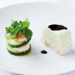 Salmon and avocado terrine with a cucumber and prawn tower
