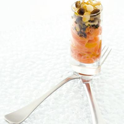Salmon carpaccio with pickled enoki mushrooms