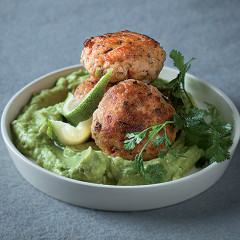 Salmon fish cakes with crushed avocado