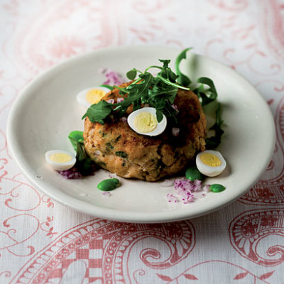 Salmon fish cakes with pickled quails' eggs