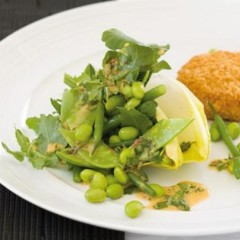 Salmon fish cakes with summer-greens salad