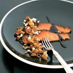 Salmon, lamb crackling and puffed wild rice
