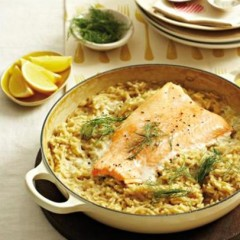 Salmon trout and fennel risotto