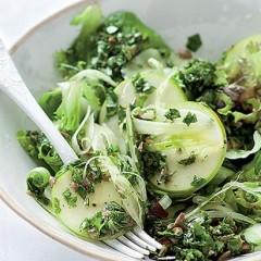 Salsa verde-dressed green salad