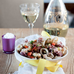 Salt-and-pepper squid with summer salsa
